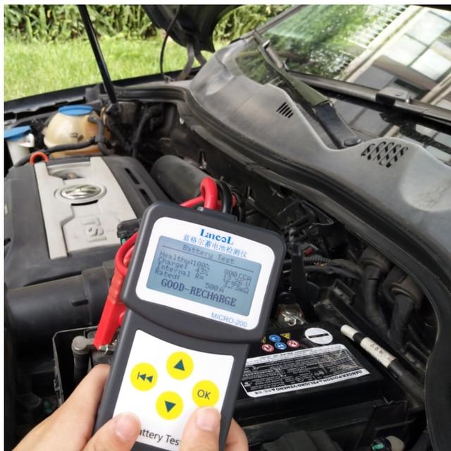 Lancol מקצועי מיקרו 200 אבחון כלי רכב בודק סוללה רכב Analyzer 12v cca סוללה מערכת Tester USB להדפסה