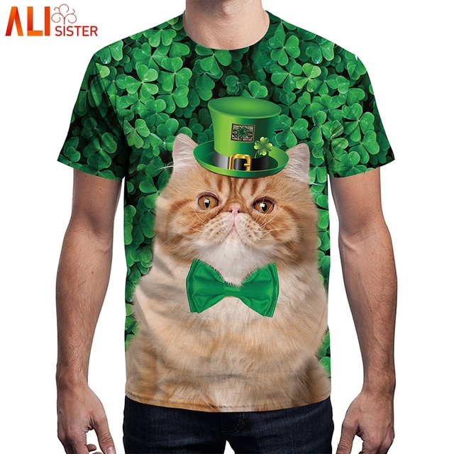 85749797a7f Alisister Funny Green Hat Cat T Shirt Summer Men Women St. Patrick S Day T  Shirts 3d Clover Hip Hop Unisex Top Camiseta Mens Tee