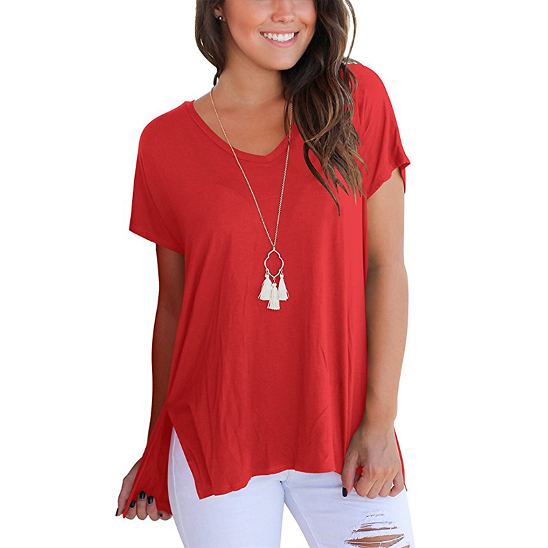 Women Casual V-neck Short Sleeve Cotton Girl Solid Casual Blouse Top Shirts Female Plus Size Solid Clothing Fashion Red Blouses