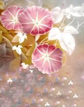 Фоны для фотосъемки с изображением пейзажа розовых цветов листьев