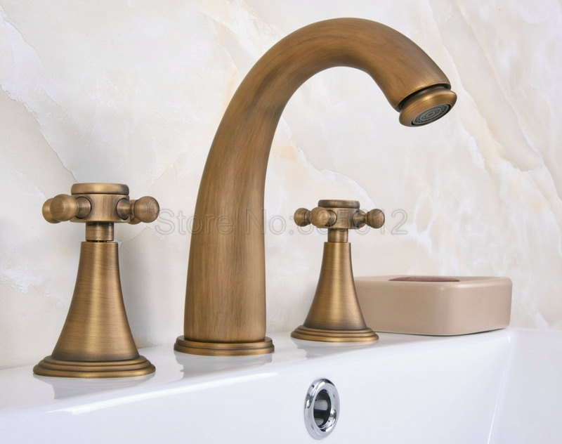 Antique Brass Bathroom Faucet Wash Basin Mixer Vessel Sink Tap Deck Mount 3 Hole Widespread Dual Handles Tub Faucets Wan080|Basin Faucets| |  - title=