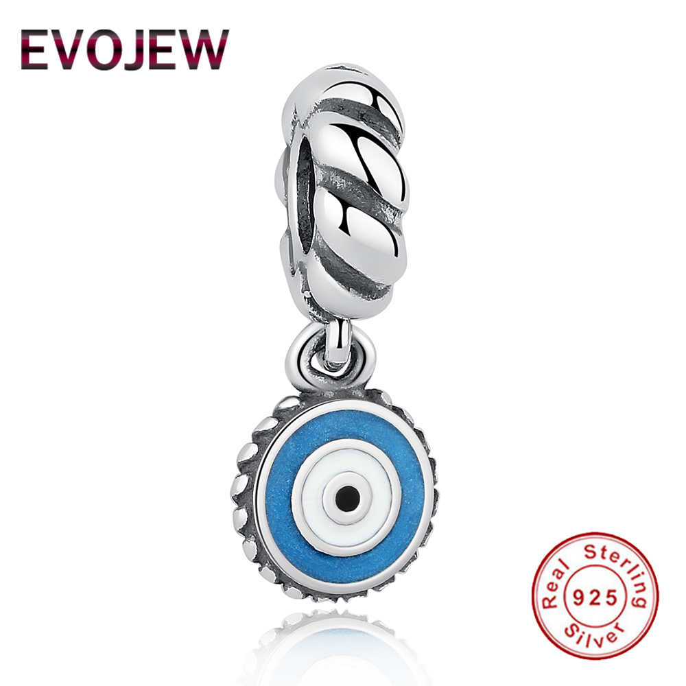 344c77458 Fashion 925 Sterling Silver Blue Eye Dangle Charm Beads Fit Original Pandora  Bracelet Necklace Pendant DIY