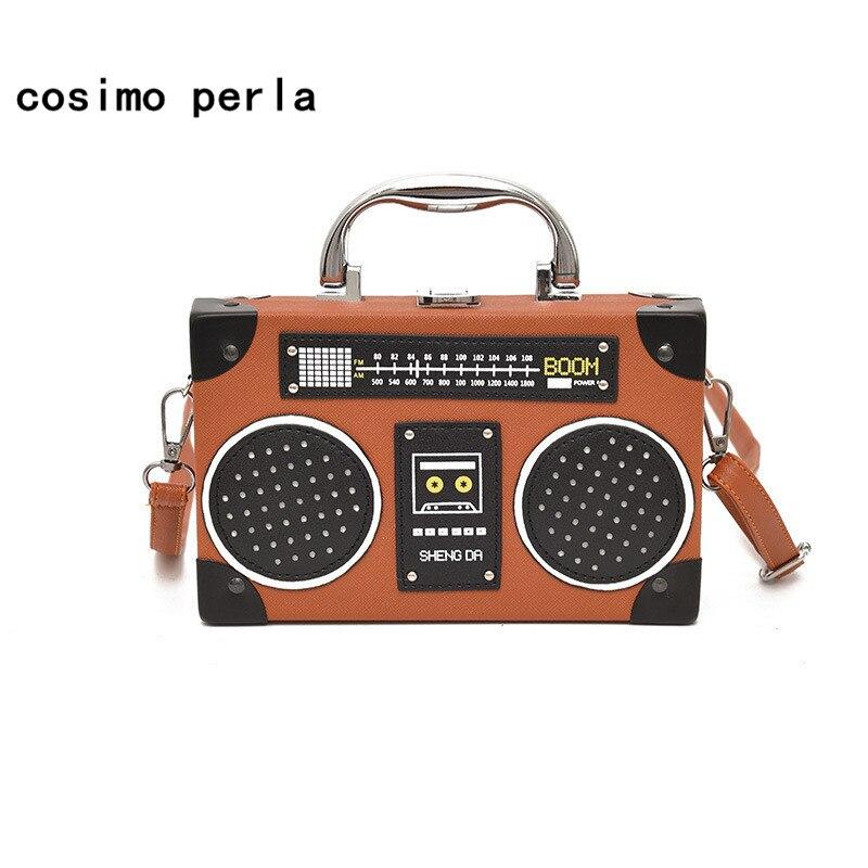 Летняя лента для радиопередач Мини-сумки для кросс-кошелек для женщин Box Shaped Shoulder Bag Кожа PU Маленькие кошельки Vintage Flap Handbags