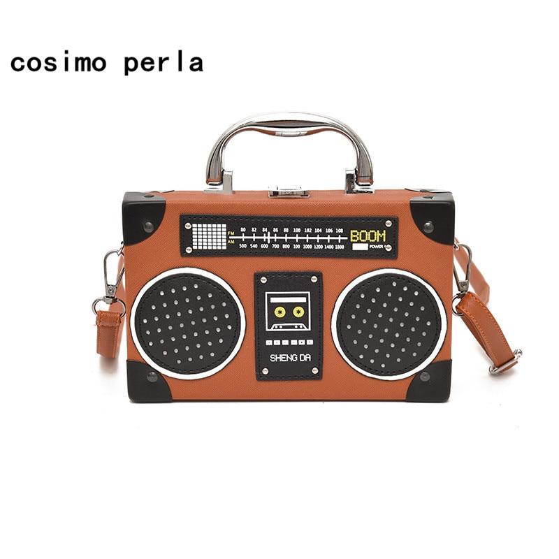 Summer Radio Tape Prints Mini Crossbody Bags For Women Box Shaped Shoulder Bag PU Leather Small Purses Vintage Flap Handbags