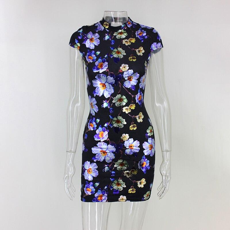 Back Tie Up Print Short Sleeve Mini Bodycon Dress