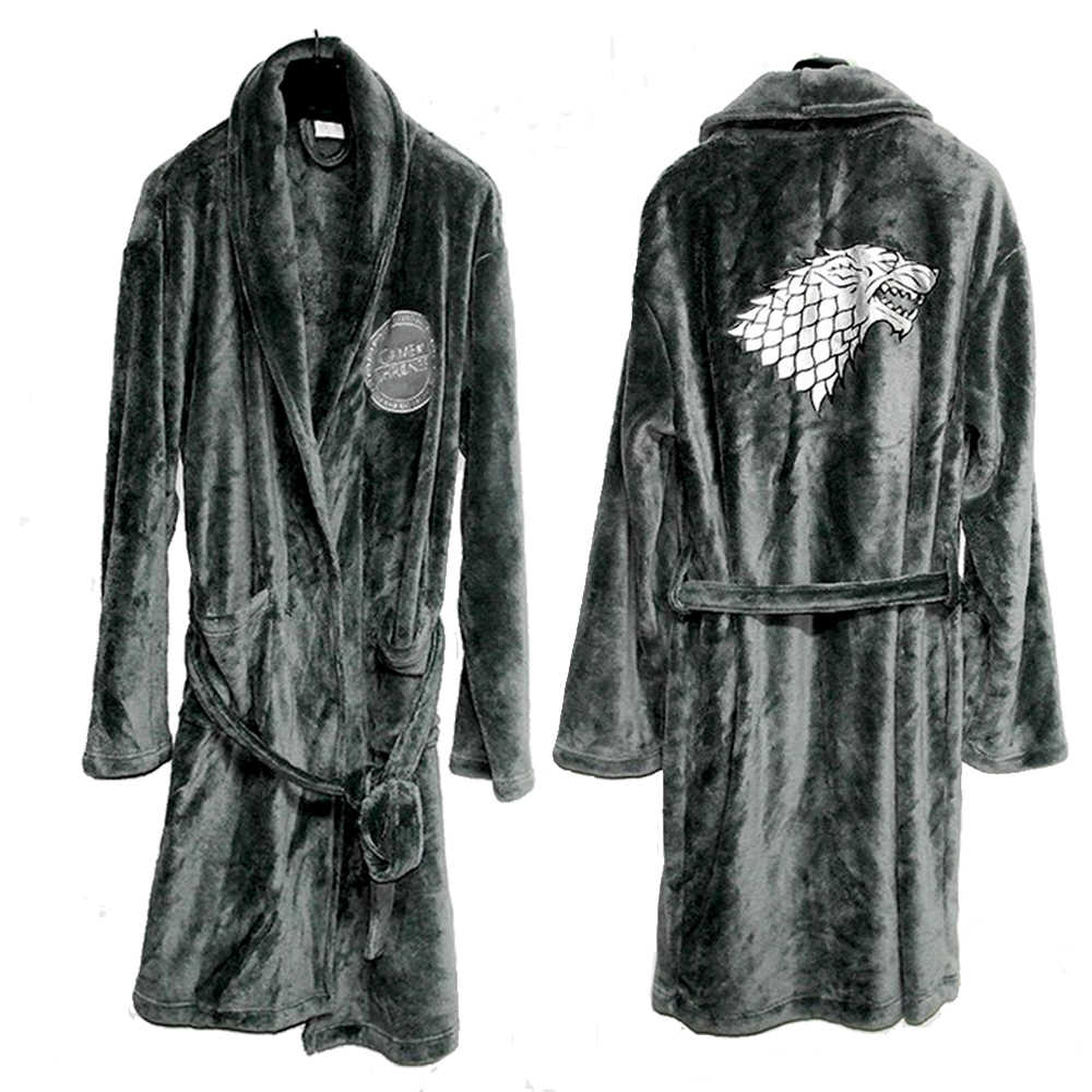 ... Game Of Thrones Bathrobes Cosplay House Stark Costume Flannel Direwolf  Blood Wolf Hooded Thermal Long Bathrobe ... 22ee20009