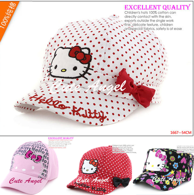 bc271fe192837 2016 Hello Kitty Baby Cap Spring and Summer Child Hat Girls Sun Hat Children  Beret Sports