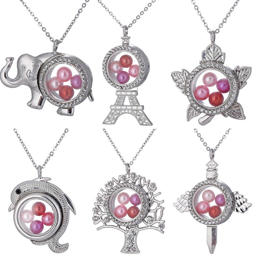 Silver Rhinestone Magnetic Glass Living Memory Locket จี้ลูกปัด Pearl Cage Charms จี้โซ่สร้อยคอ