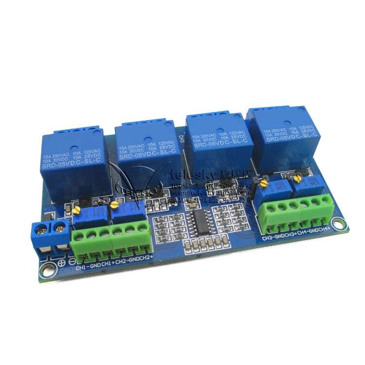 4 way relay module four channel voltage comparison relay circuit module LM339 LM393 1pcs current detection sensor module 50a ac short circuit protection dc5v relay