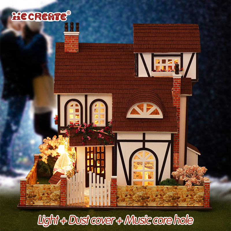 Doll <font><b>House</b></font> Furniture Diy Miniature Dust Cover 3D Wooden Miniaturas Dollhouse Flower Town Large <font><b>Toys</b></font> <font><b>for</b></font> Birthday <font><b>girl</b></font> Gifts image