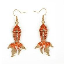 Ювелирные изделия в китайском стиле, милые висячие серьги в форме рыбы, кулон, духи, Feminino Brincos, эмалевый сплав, висячие серьги для женщин