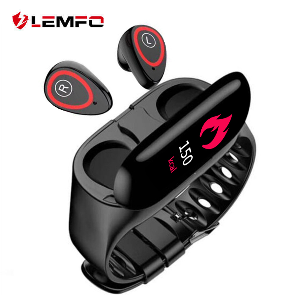 LEMFO Smart Fitness Bracelet For Women Men With Bluetooth Headphone Pedometer Hate Rate Blood Pressure Monitor