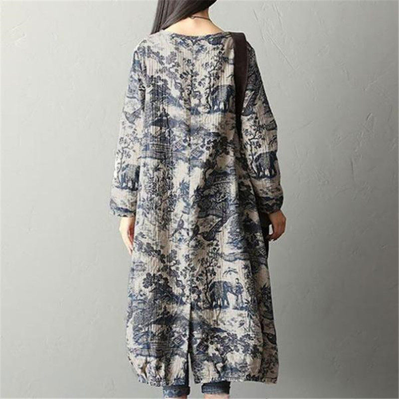 62be890d6 BUYKUD 2018 Women Autumn Winter Printing Split Dress Robe Vintage Round  Neck Long Sleeve Casual Loose Long Dresses With Pockets-in Dresses from  Women's ...