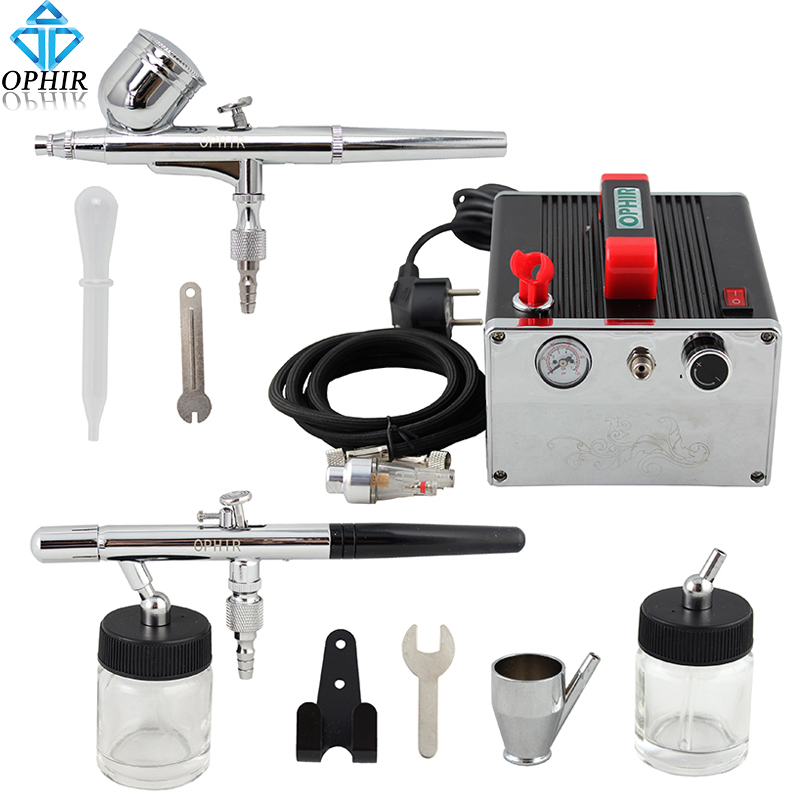 OPHIR 2 Dual Action Airbrush Kit with Air Compressor 0.3mm 0.35mm Air Brush Gun for Cake Decorating Hobby Paint _AC091+004A+072 ophir 0 4mm single action airbrush kit with 5 adjustable mini air compressor cake airbrush gun for makeup body paint ac094 ac007