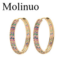Molinuo 38mm round circle mix colorful cubic zirconia european women classic jewelry top quality new design lady earring