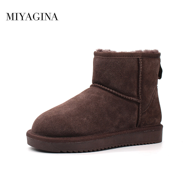 Top Quality New Women Genuine Sheepskin Leather Snow Boots Winter Warm Classic Ankle Boots Women Fashion Shoes