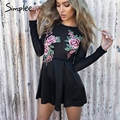 Simplee Embroidery mesh jumpsuit romper Christmas elegant flower long sleeve women playsuit Causal party black short overalls