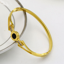 Classic Round stainless steel Gold Color Bangle black shell Adjustable Design Bracelet Fashion Jewelry Open Women