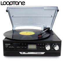 LoopTone 3-Speed Vinyl LP Record Players Turntable Player Built-in Speakers Gramophone AM/FM Radio Cassette USB/SD recorder цена
