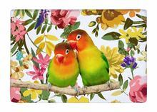 Floor Mat Lovebirds and Watercolor Flora Print Non-slip Rugs Carpets alfombra For Indoor Outdoor living kids room