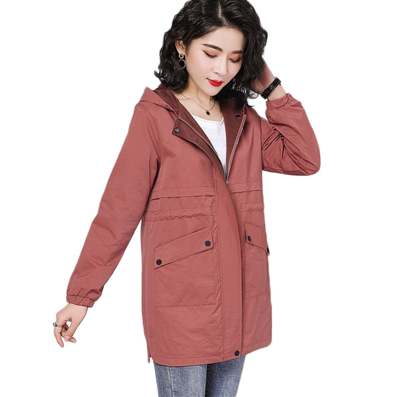 New Women Hooded Windbreaker coat Spring Autumn Loose Long Cardigan   Trench   coats Women's Plus size Casual Overcoats 5XL A1144