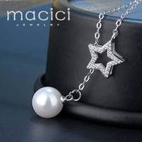 Women Necklace Cubic Zirconia Star With Dangling Pearl Necklace Anti Allergy Silver 925 Body Jewelry Finding