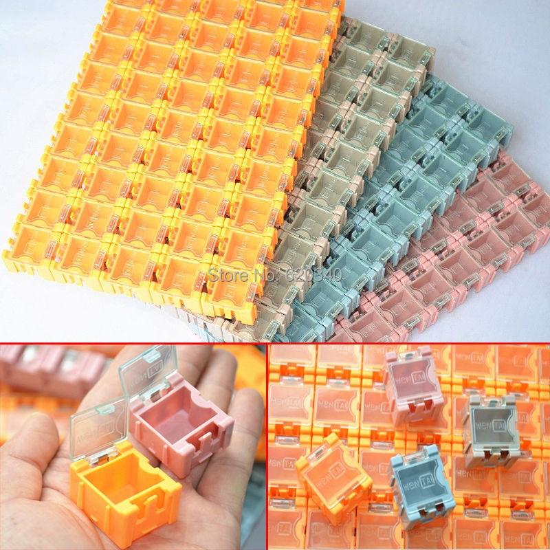Drop shipping 100 pcs SMD SMT boîtes de stockage de conteneurs composant électronique cas kit le 1 # Automatiquement pop up patch boîte dans Boîtes À outils de Outils