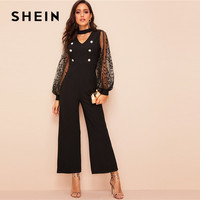 52d4affe9a SHEIN Choker Neck Embroidered Mesh Lantern Sleeve Black Jumpsuit Women  Spring V Cut Out Neck High