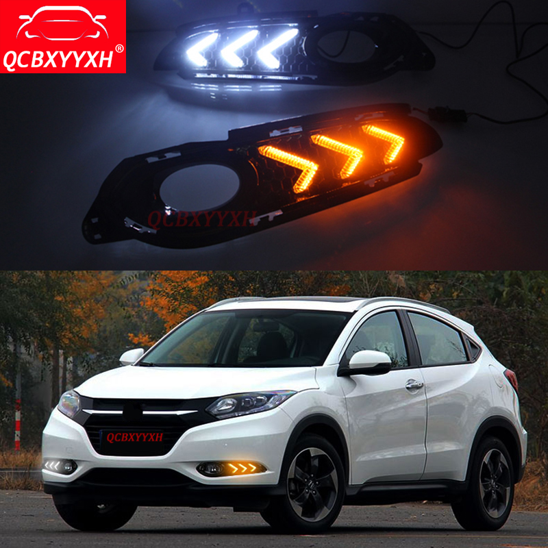 QCBXYYXH Auto 12V DRL Turn Yellow Signal Relay LED Daytime Running Light With Fog Lamp Hole For Honda Vezel HRV HR-V 2015-2017 2015 new arrival 12v 12volt 40a auto automotive relay socket 40 amp relay