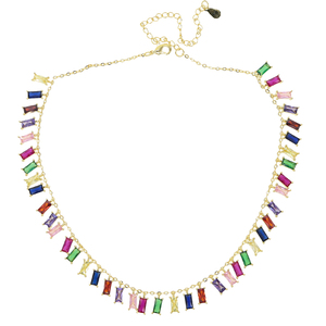 Image 4 - 2020 Gold plated colourful baguette rainbow CZ choker charm necklace for women lady party gift trendy gorgeous elegance jewelry