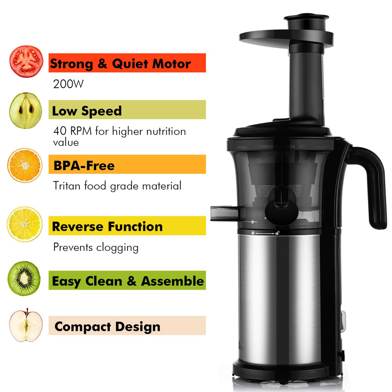Image 5 - BPA FREE 200W 40RPM Masticating Slow Juicer Low Speed Auger Fruit Vegetable Cold Press Juice Extractor Squeezer Stainless Steel-in Juicers from Home Appliances