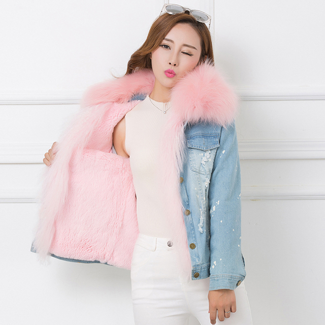 Aliexpress.com : Buy 2017 Winter Fur Jean Jacket Women Real Big ...
