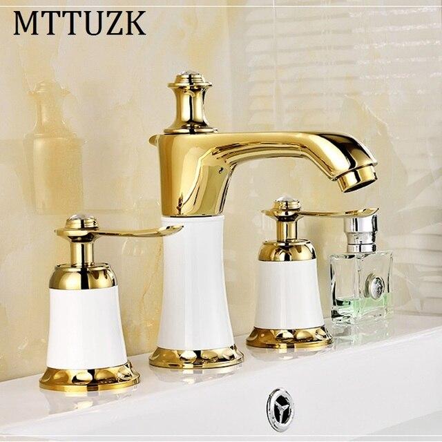 Mttuzk Free Shipping Golden Bath Faucet Double Handle 3 Holes Deck Mounted Sink Hot Cold