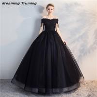Vintage Black Quinceanera Dresses Off The Shoulder Tulle Appliqued Masquerade Sweet 16 Dresses Ball Gowns vestidos de 15 anos