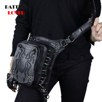 Fashion Leather Waist Bags Women Vintage Spider Rivet Fanny Packs Mens Waterproof Travel Punk Crossbody Messenger Bag Steampunk