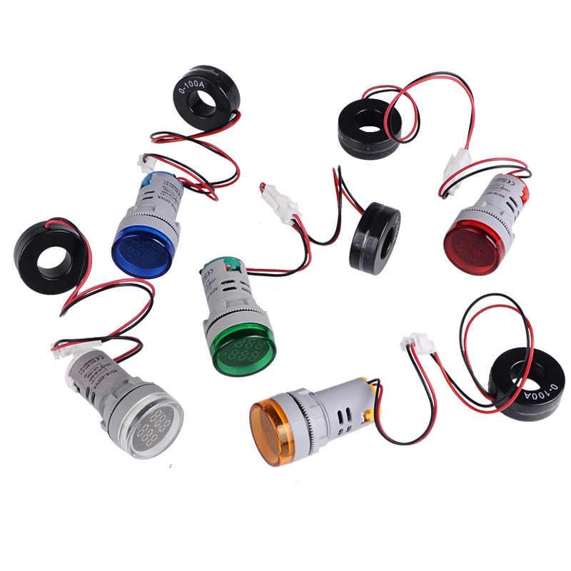 LED ronde double affichage AC ampèremètre ampèremètre voltmètre ampèremètre de courant de tension numérique indicateur 60-500 V 220 V 100A