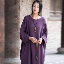 Women Spring New Cotton Linen Solid Loose Dress Robes Ladies Round Neck Plus Size Dress Gown