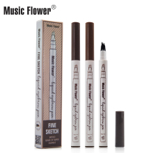Musik blume 3 Farben 4 Spitz Langlebige Flüssigkeit Augenbrauenstift Feine Skizze Wasserdicht Augen Make-Up Augenbrauen tattoo Super Durable