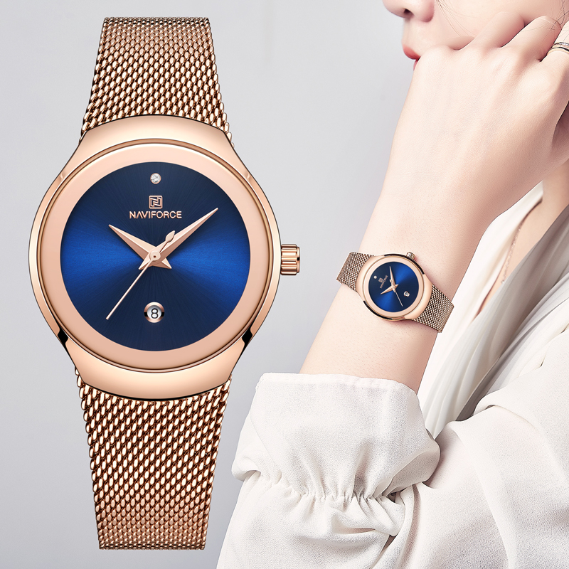 Top Brand NAVIFORCE Women Simple Watches Female Luxury Quartz Calendar Watch Ladies Classic Fashion Rose Gold Blue Wristwatch
