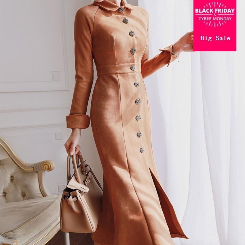 Offres spéciales printemps automne élégante dame simple boutonnage daim tissu robe de trompette femmes était mince robe fendue wj2886 livraison directe