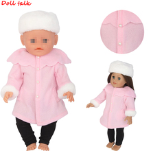 Pink Reborn Baby Dolls Clothes Winter Hat  Jacket Trousers Set Fit For 18 inch American Dolls And 43cm Baby Doll Girl Gift