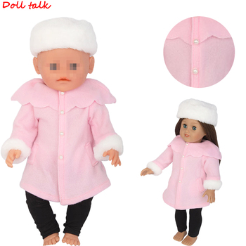 Pink Reborn Baby Dolls Clothes Winter Hat  Jacket Trousers Set Fit For 18 inch American And 43cm Doll Girl Gift