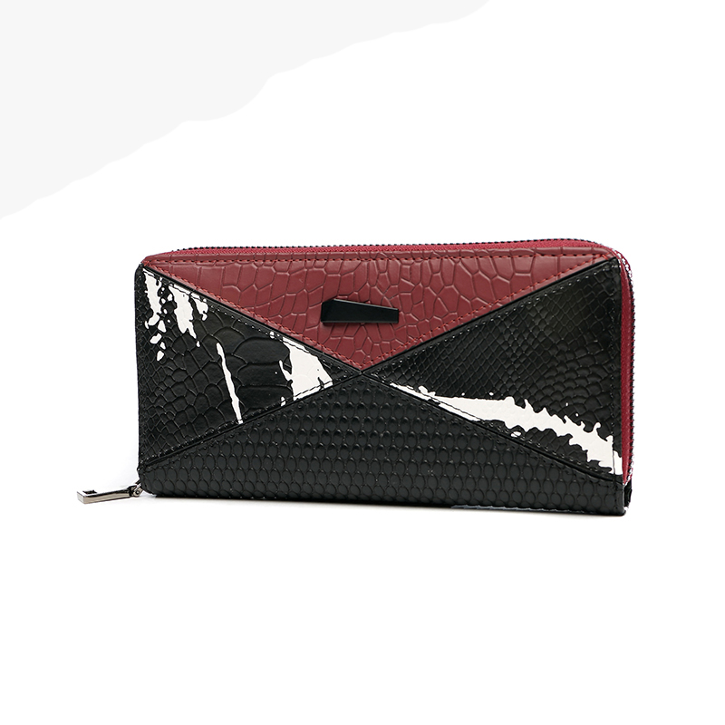 Women Long Section Wallet Genuine Leather Cow Zipper Clutch Wallets Large Capacity Card Holded Purse Panelled Colour Hand Bag