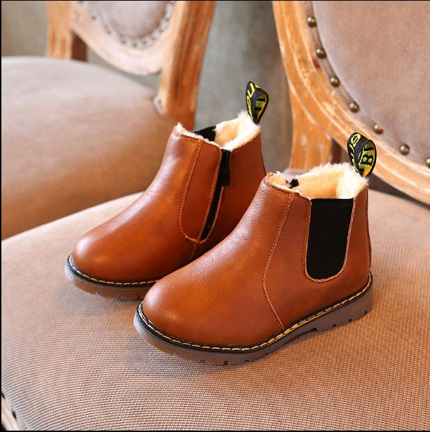 Autumn/Winter Children'S Shoes For Girls Leather Boots Warm Thicken Plush Cotton Boys Snow Boots Kids Retro Fashion Ankle Boots
