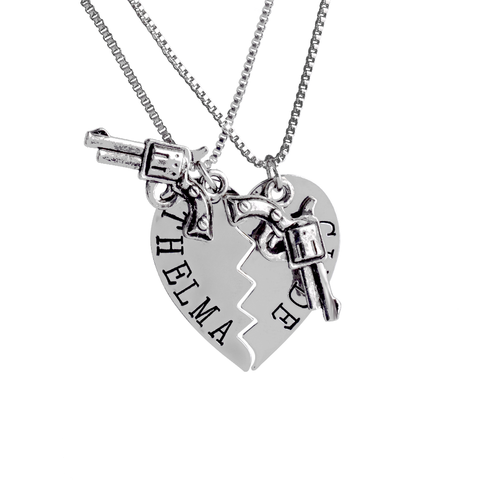 2pcs THELMA LOUISE Pendant Necklaces Guns Heart Friendship Adventure Freedom Best Friends Forever Creative Girl Keepsake Gifts
