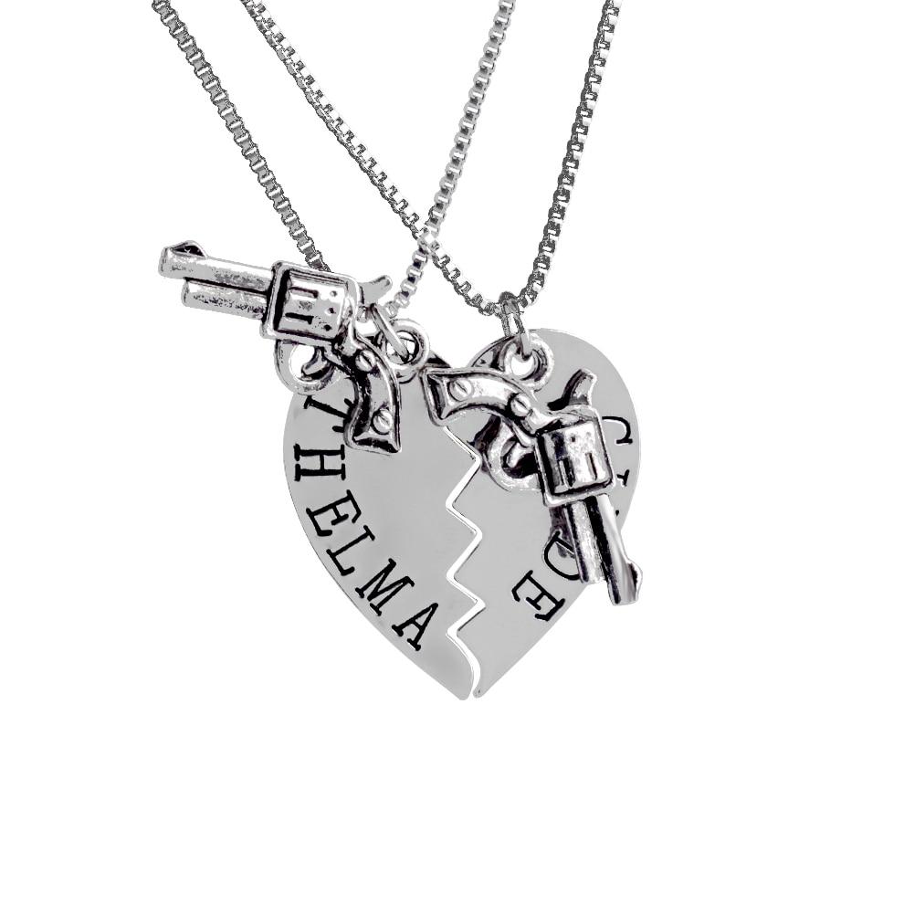 2ks THELMA LOUISE Přívěsky Náhrdelníky Pistole Srdce Přátelství Dobrodružství Svoboda Nejlepší přátelé navždy Kreativní dívka Dárky na dárky