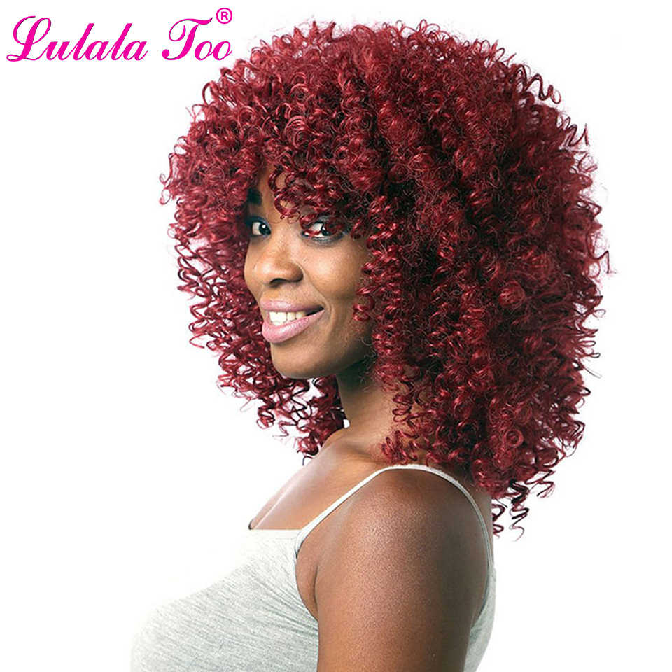Long Red Black Afro Kinky Curly Wigs for Women Blonde Mixed Brown 16inch Natural Synthetic Wigs African Hairstyle Heat Resistant