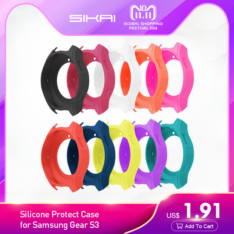 SIKAI Silicone Protect Smart Watch Cases Cover for Samsung Gear S3 Rubber Band Cover Frontier Colorful Silicone Protective Case стоимость