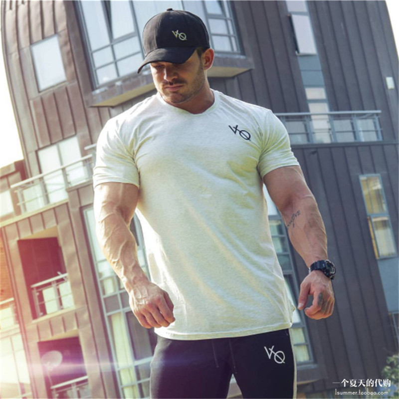 Men Brand gyms   t     shirt   Fitness Bodybuilding Slim fit Cotton   Shirts   Short Sleeve workout male sporting Tee Tops clothing