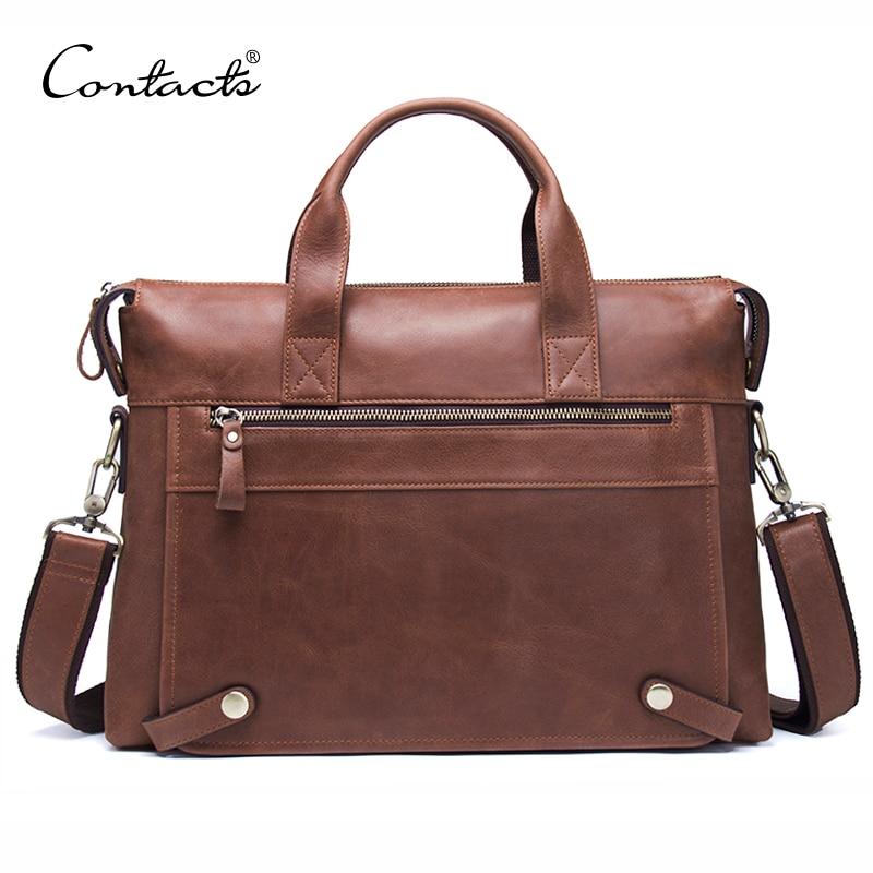 CONTACT'S бизнес для мужчин Портфели пояса из натуральной кожи сумка для человека 13,3 дюймов ноутбук с клапаном карман дорожные сумки